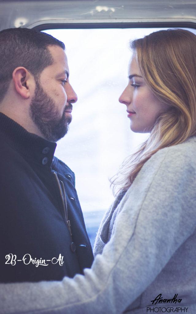 Photo de futurs mariés dans le métro parisien